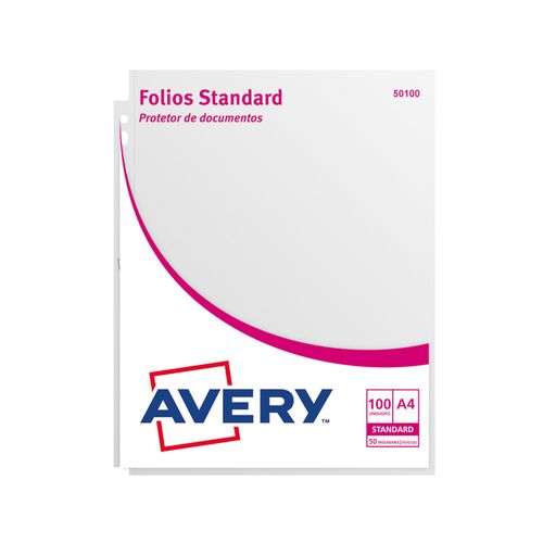 Folios-Avery--50100--Standard-A4.-50-micrones-Pack-100