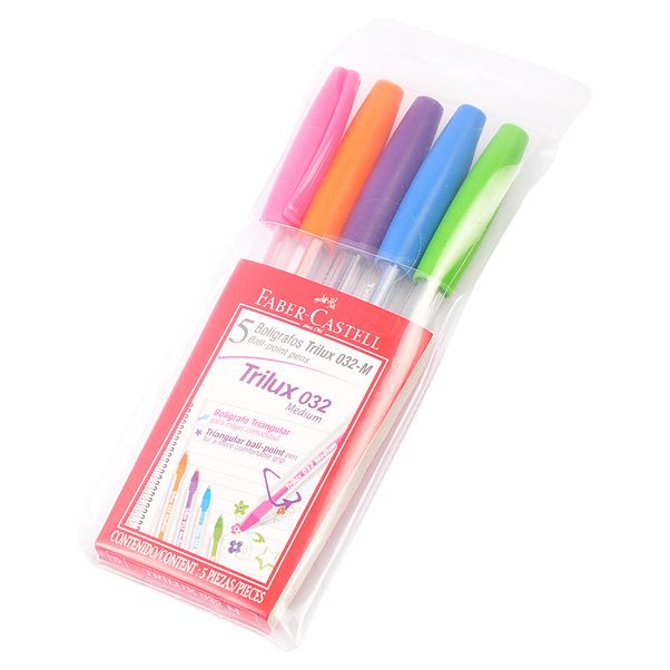 Boligrafo-Faber-Castell-Trilux-Colors-032-.-Pack-x-5